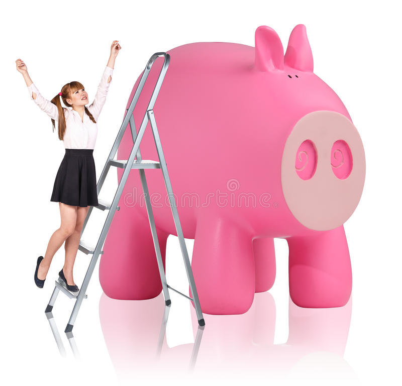 Download 妇女在活梯起来在存钱罐附近 库存照片. 图片 包括有 货币, 粉红色, 营销, 市场, 愉快, 查出, 收入 - 62525964