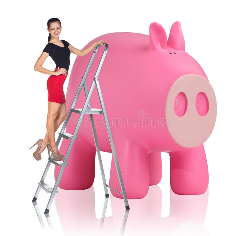 Download 妇女在活梯起来在存钱罐附近 库存照片. 图片 包括有 女性, 贪心, beautifuler, 投资, 上色 - 62525998