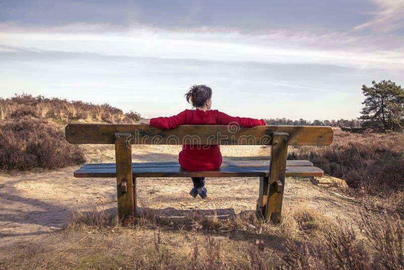 妇女坐一条长凳本质上 库存图片