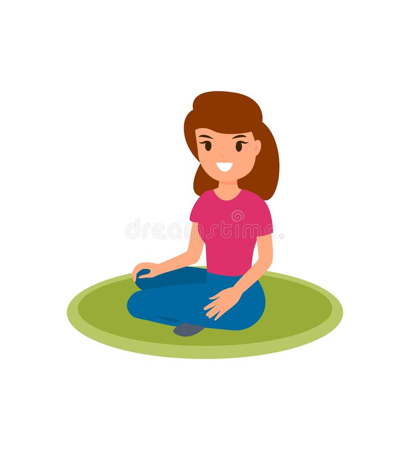 妇女坐地毯 被隔绝的动画片传染媒介 皇族释放例证