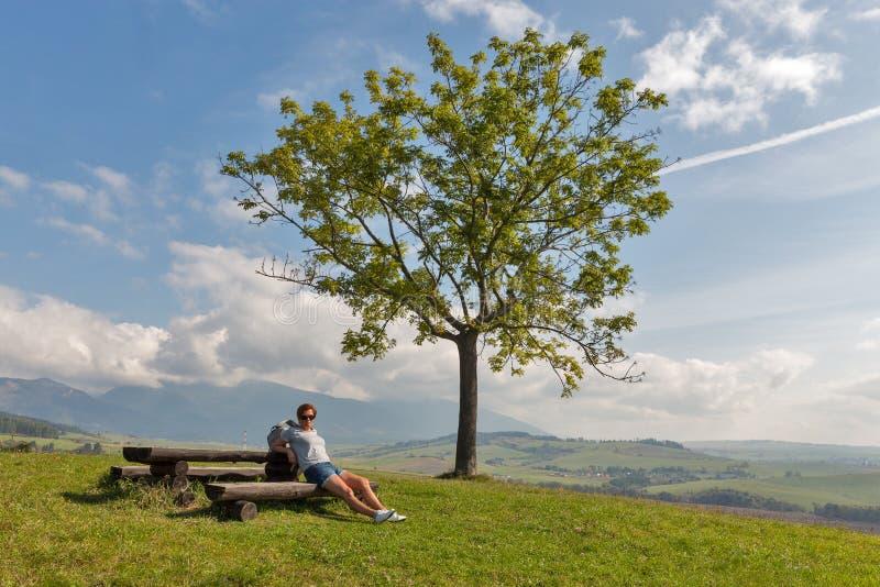妇女坐夏天小山在Liptovsky Trnovec,斯洛伐克附近 免版税库存图片