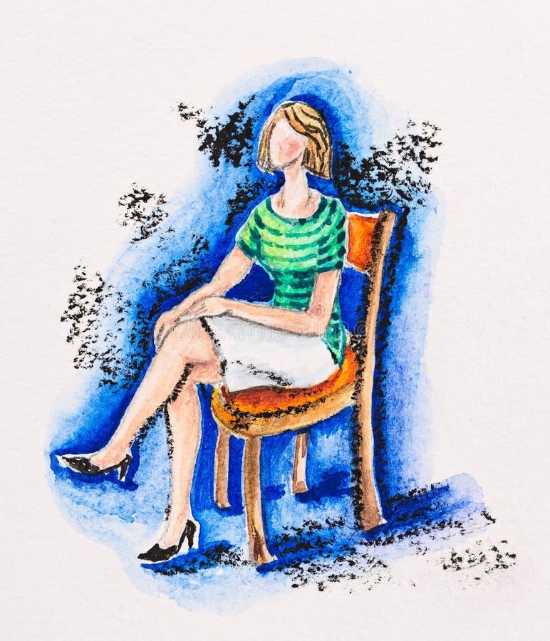 妇女坐椅子 库存例证
