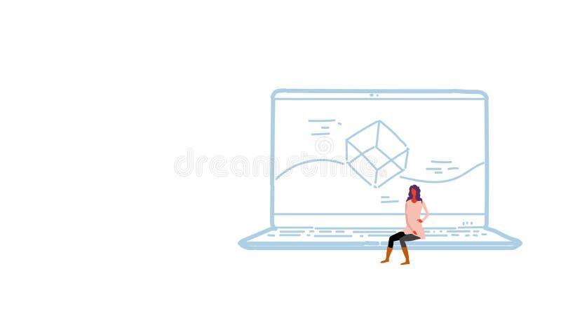 妇女坐的手提电脑应用程序发展概念屏幕接口应用设计女性开发商剪影乱画 库存例证