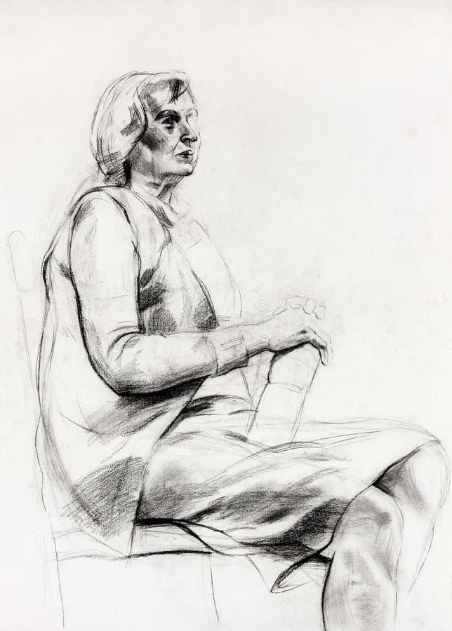妇女坐的草图 皇族释放例证