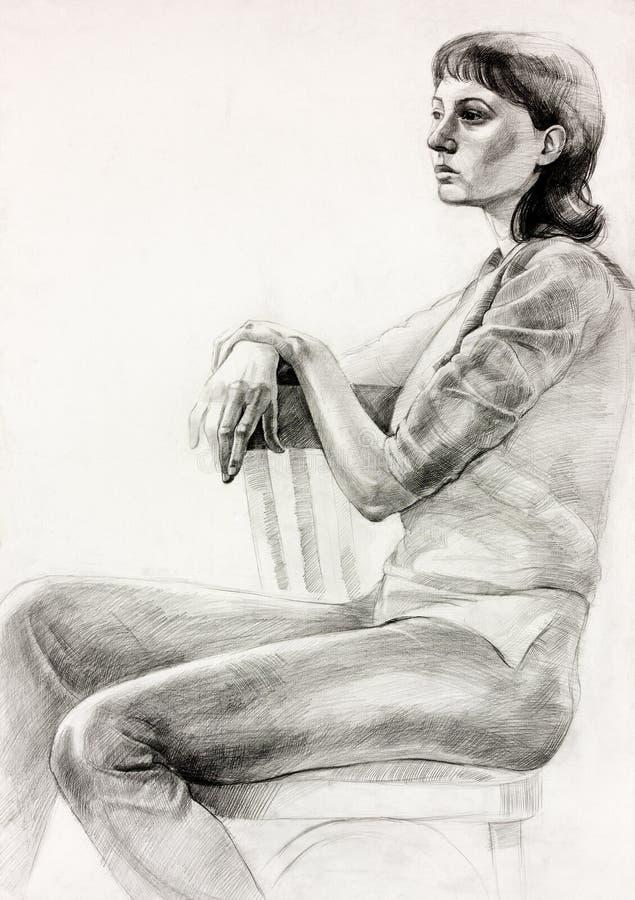 妇女坐的草图 库存例证