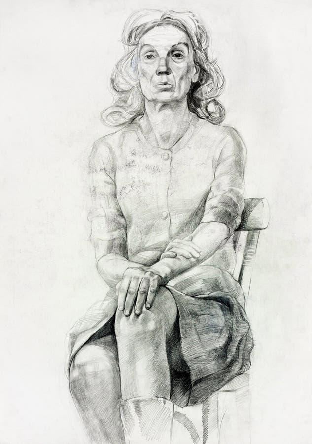 妇女坐的草图 向量例证
