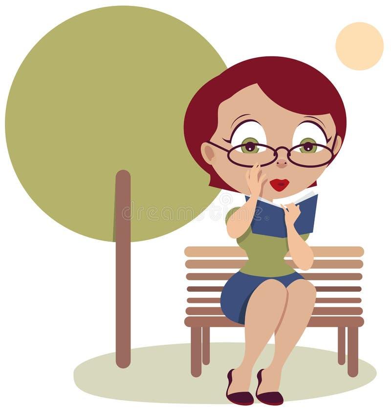 妇女坐长凳和阅读书 皇族释放例证