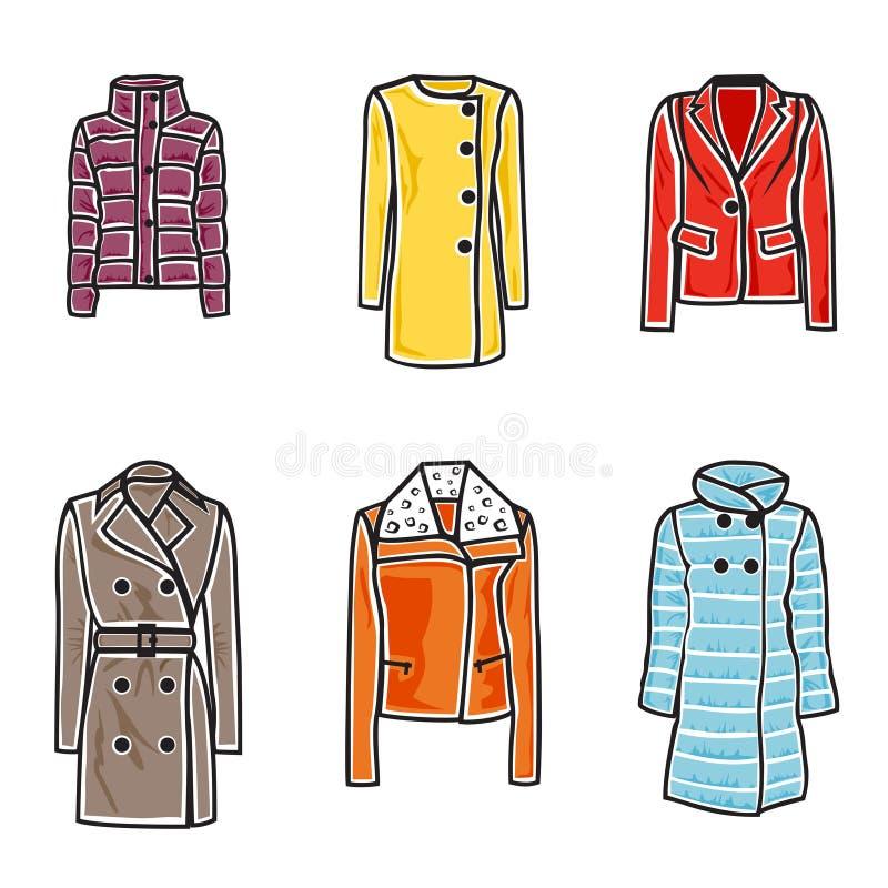 妇女外套图标集 向量例证