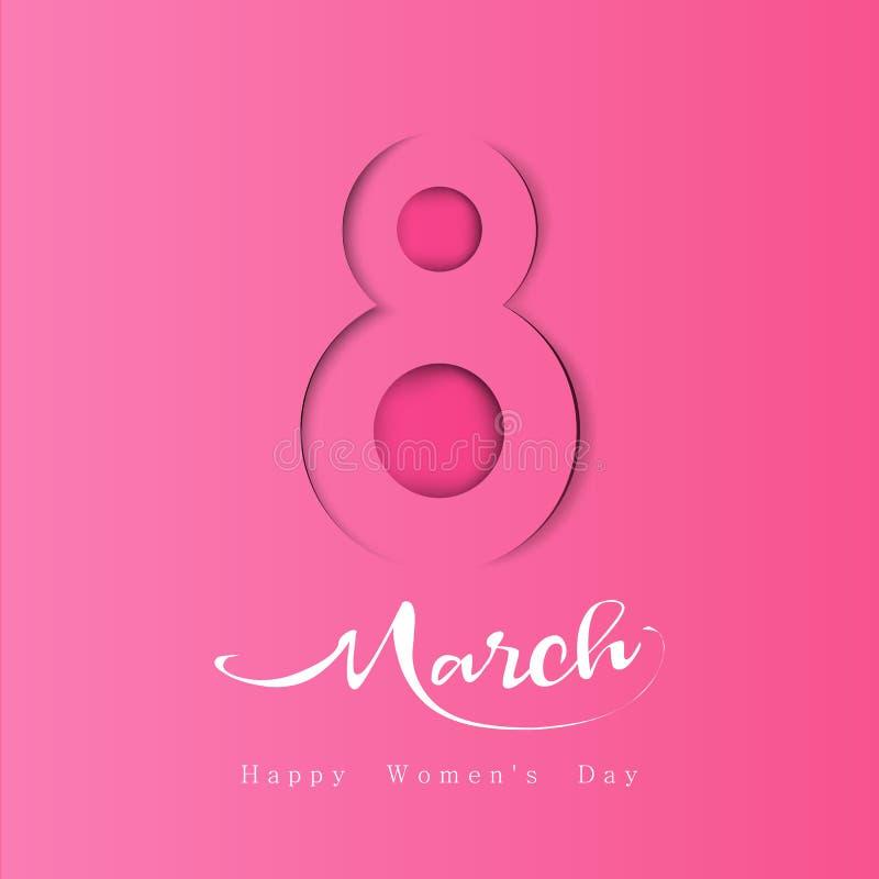 妇女天标志3月8日,在纸被削减的样式的与阴影 库存例证