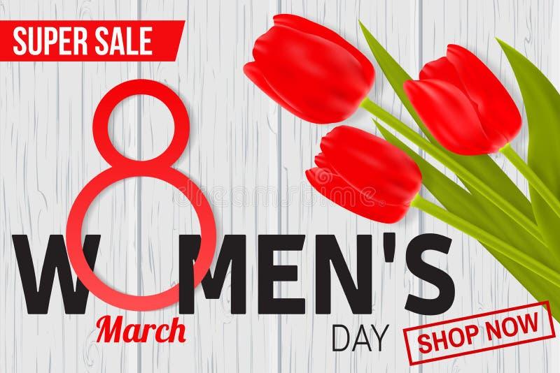 妇女天网横幅、飞行物或者背景构成的销售设计与红色郁金香 库存例证