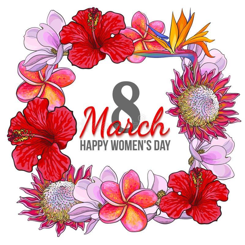 妇女天, 3月8日与热带花的贺卡设计 皇族释放例证