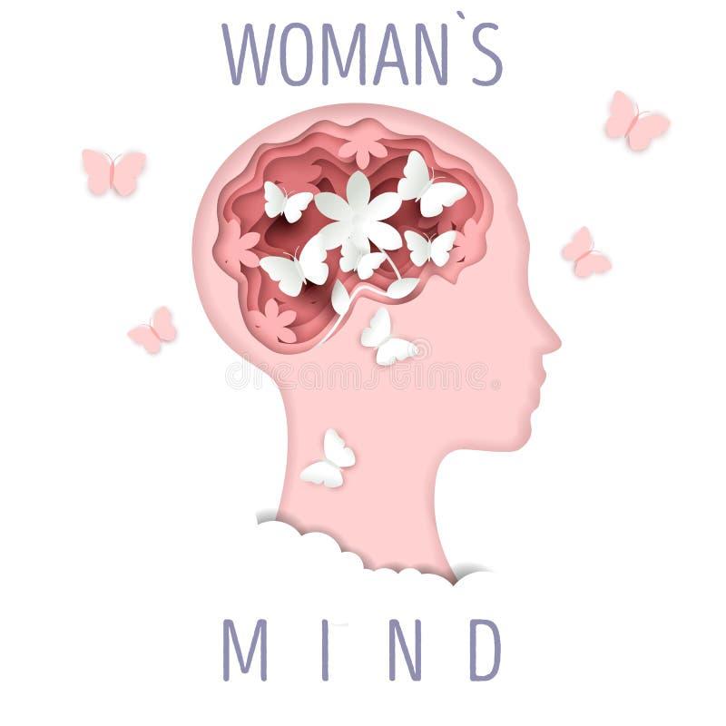 妇女头脑,在纸艺术样式的传染媒介例证 皇族释放例证