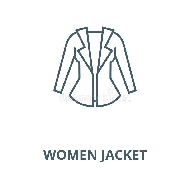 妇女夹克传染媒介线象,线性概念,概述标志,标志 向量例证