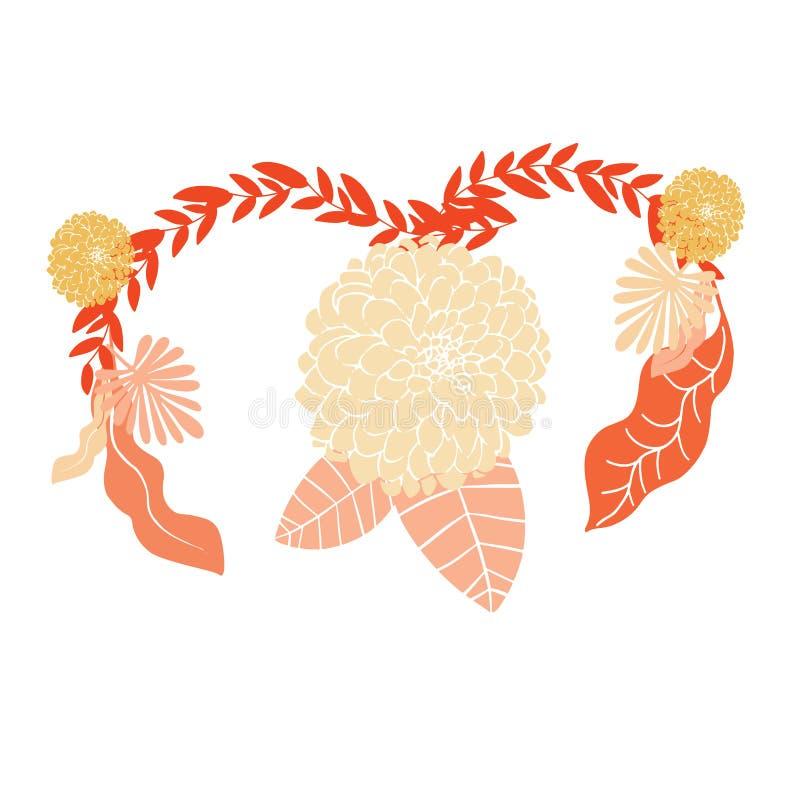 妇女子宫在桃红色背景的健康概念 皇族释放例证