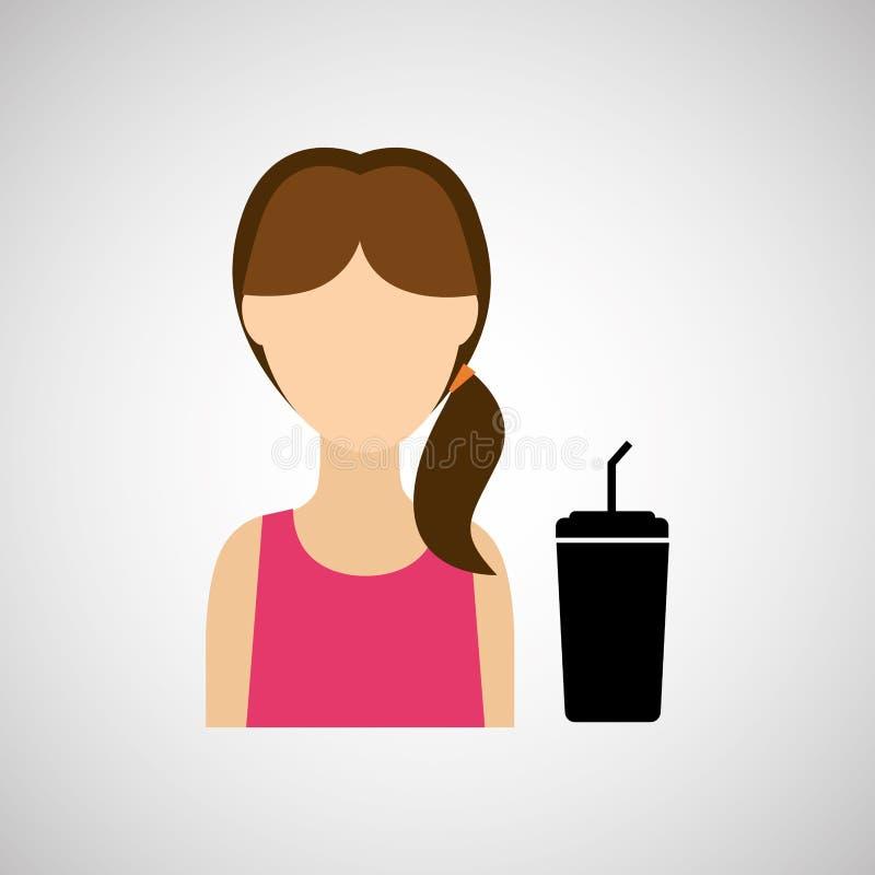 妇女字符苏打杯子秸杆设计 向量例证