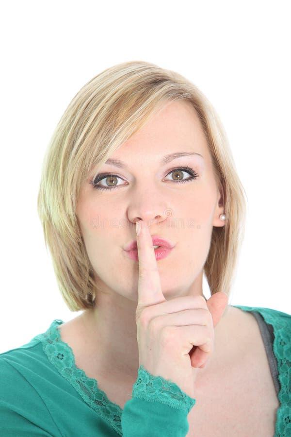 妇女安静地请求与安静姿态 免版税库存图片