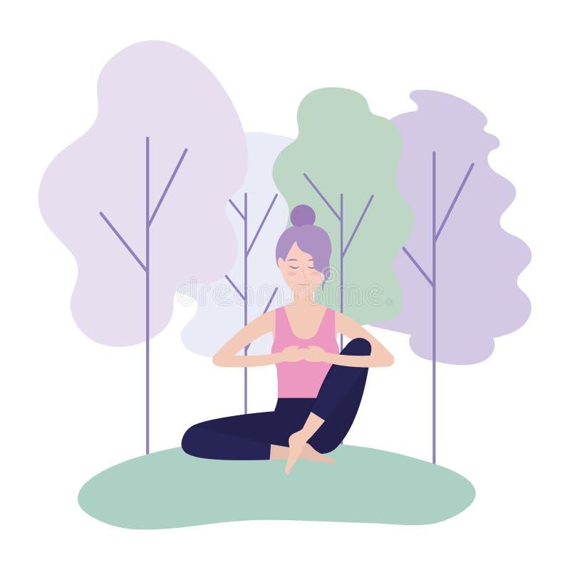 妇女实践瑜伽镇静姿势平衡 库存例证