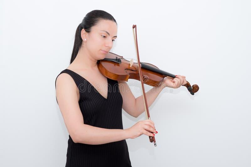 妇女小提琴 免版税库存图片