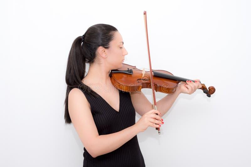 妇女小提琴 库存照片