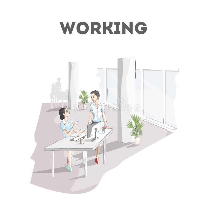 妇女工作在办公室 坐在书桌的雇员 向量例证