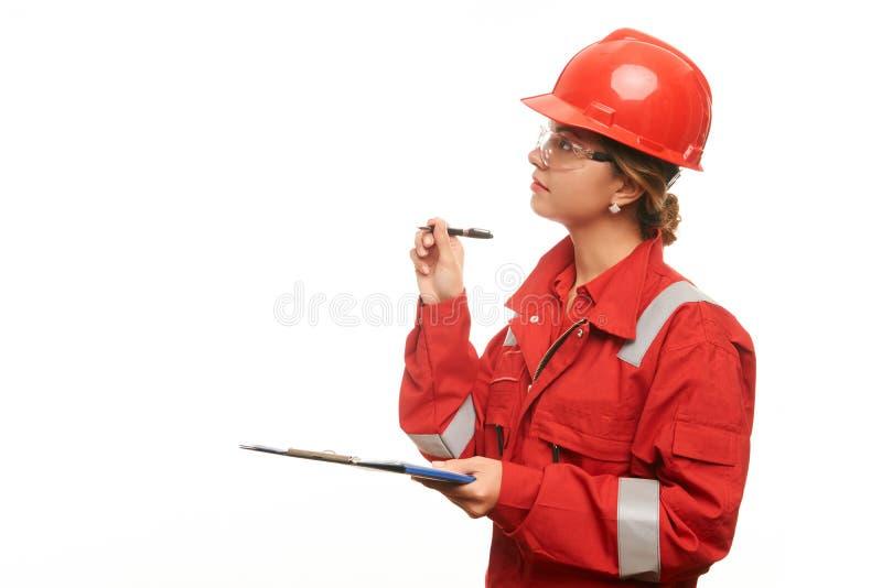 妇女工程师和建筑工人 免版税图库摄影