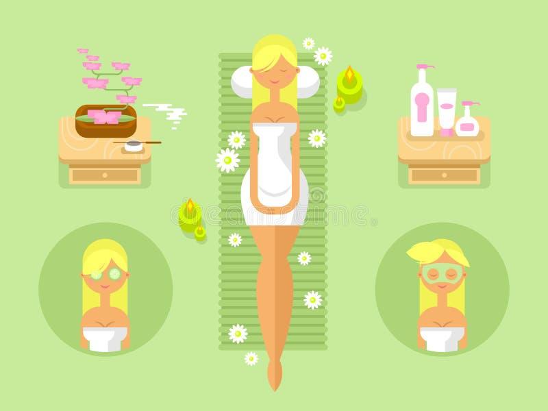 妇女平温泉的设计 向量例证