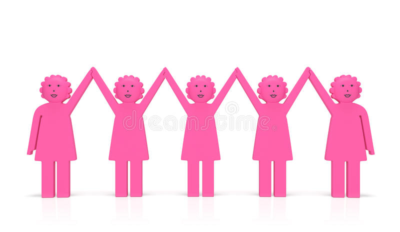 妇女平等天或女权主义概念 愉快的团结的微笑的妇女 皇族释放例证