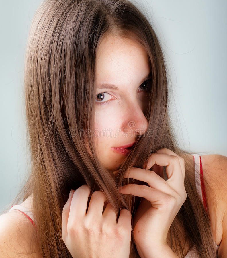 妇女年轻人的接近的纵向 免版税库存照片