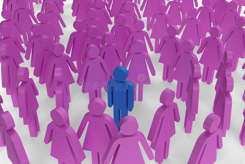 妇女形象判断男性选拔包围 库存例证