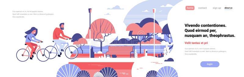 妇女循环在城市的人夫妇停放长木凳树街灯风景背景拷贝空间横幅舱内甲板 向量例证