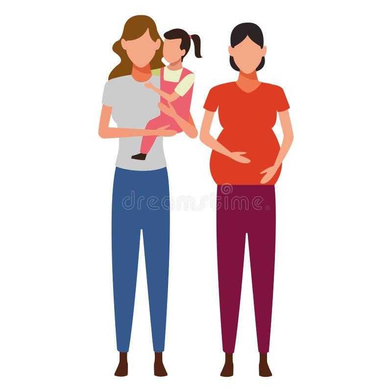 妇女怀childs具体化卡通人物 向量例证