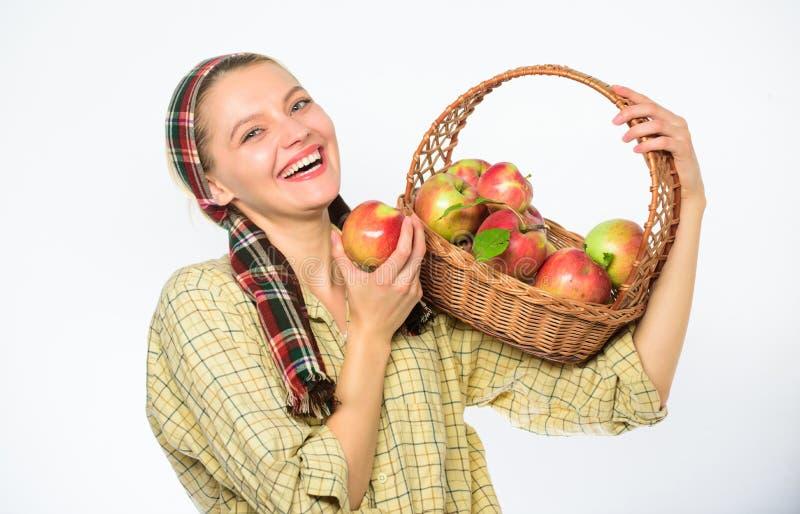 妇女恳切的村民运载篮子用自然果子 夫人农夫花匠感到骄傲为她的收获妇女花匠 图库摄影