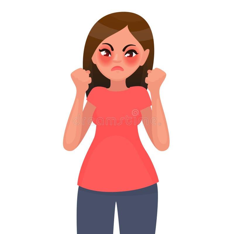 妇女恼怒 牢骚 也corel凹道例证向量 库存例证