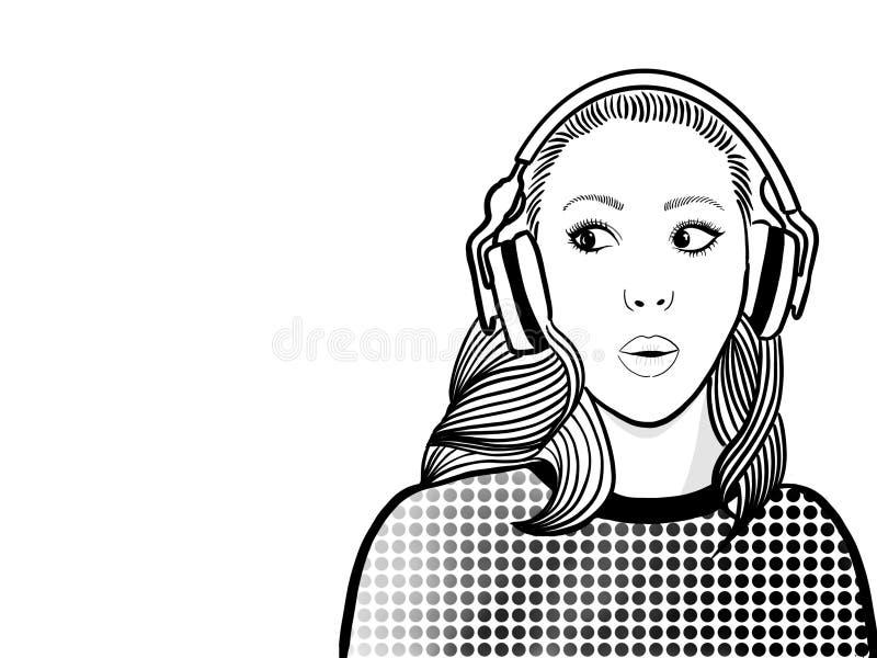 妇女惊奇,当听收音时 库存例证