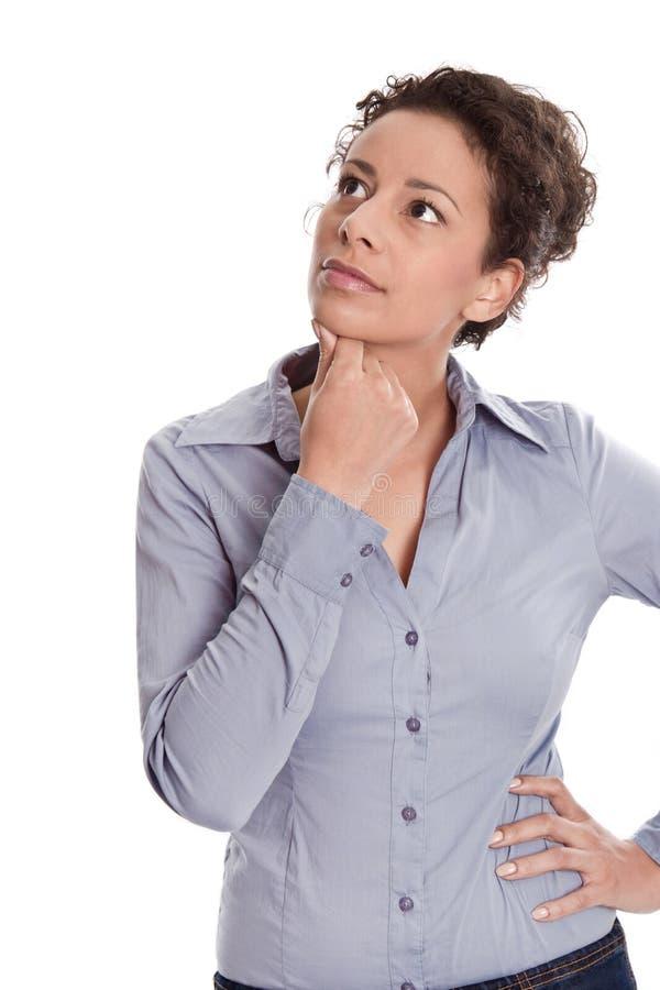 妇女想法的查找隔绝在白色背景 免版税库存照片