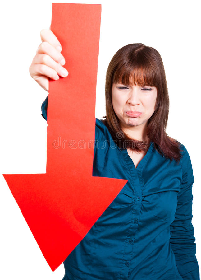 妇女懊恼关于失败 库存照片