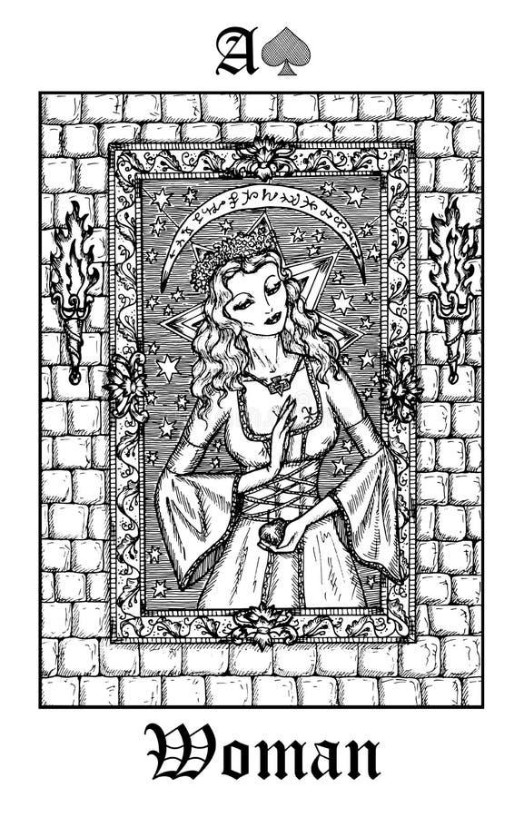 妇女或公主 从传染媒介Lenormand哥特式奥秘oracle甲板的占卜用的纸牌 库存例证