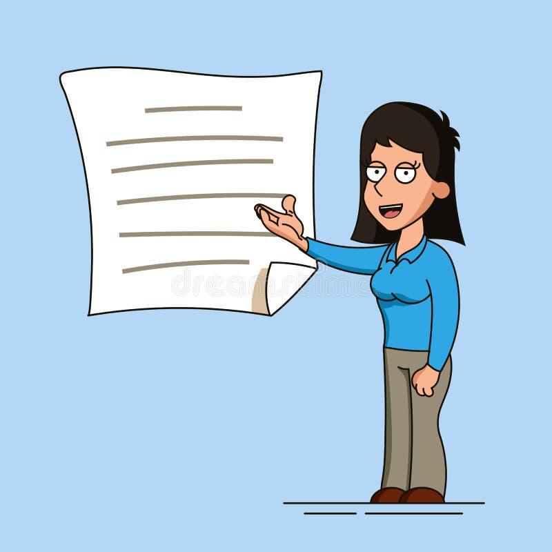 妇女或女实业家指向她的手一个完整文件或在墙壁上的一张海报 在动画片的例证 向量例证