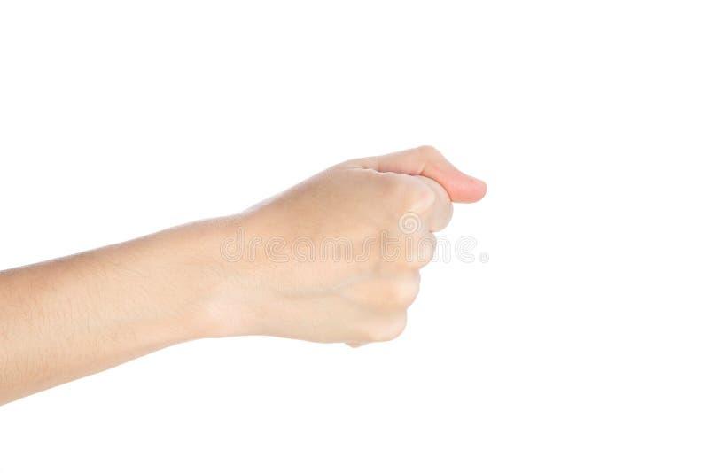 妇女手展示在白色背景隔绝的拳头姿态 免版税库存图片