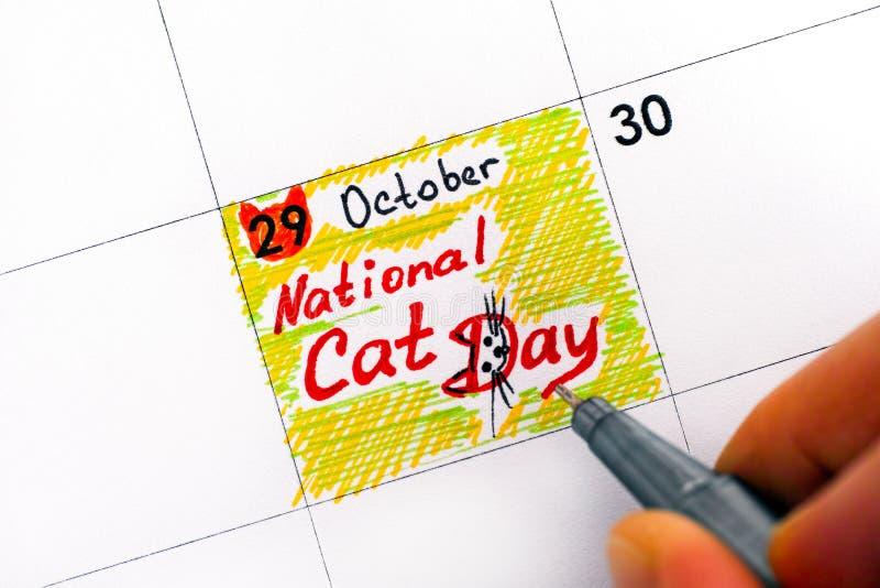 妇女手指与在cale的笔文字提示全国猫天 免版税库存照片