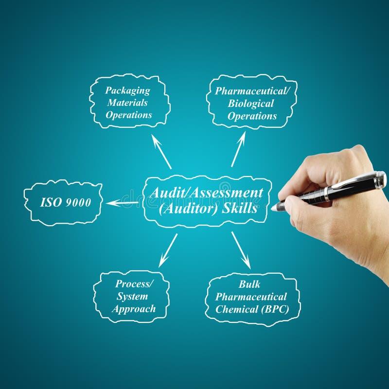 妇女手文字审计/评估(审计员)技巧概念 库存例证