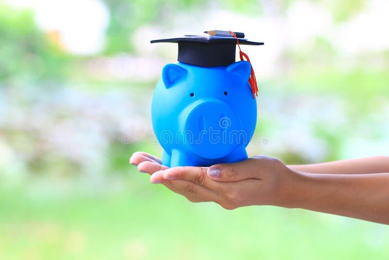 妇女手藏品在蓝色的毕业帽子贪心有自然绿色背景,教育概念的攒钱 库存图片