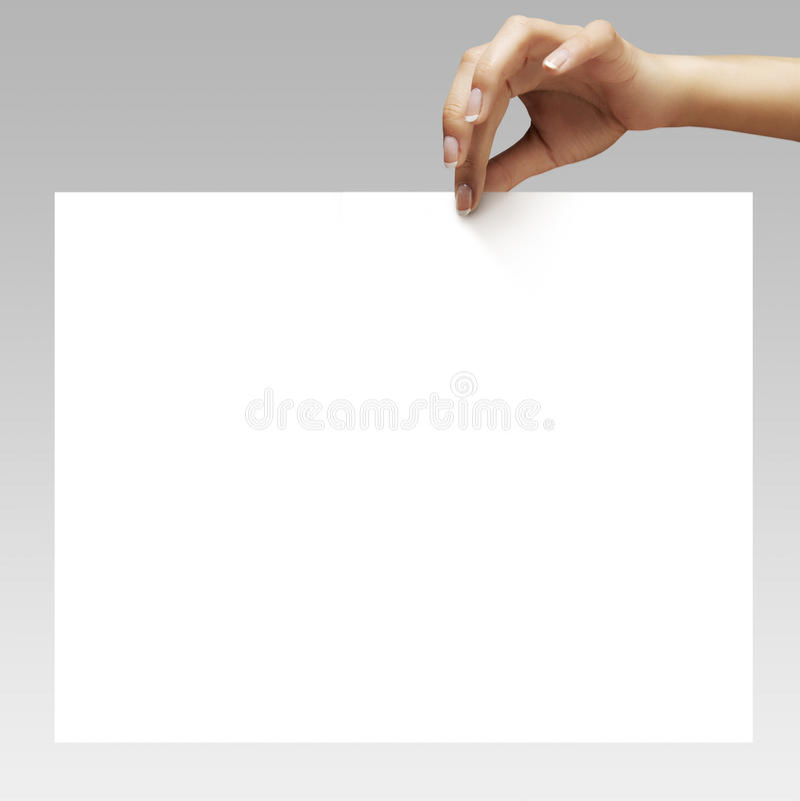 妇女手holdin白纸 库存图片