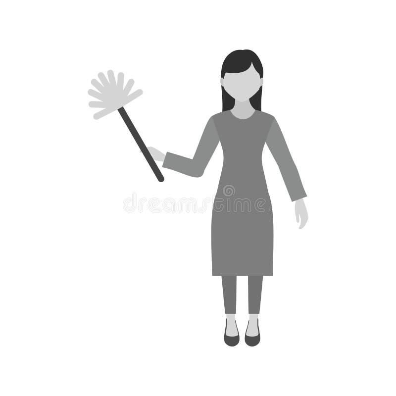 妇女打扫灰尘 库存例证