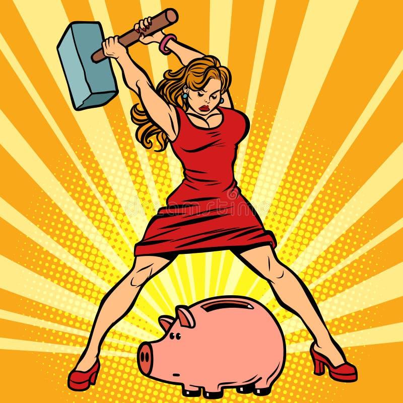 妇女打破存钱罐 财务、经济和消耗量 向量例证