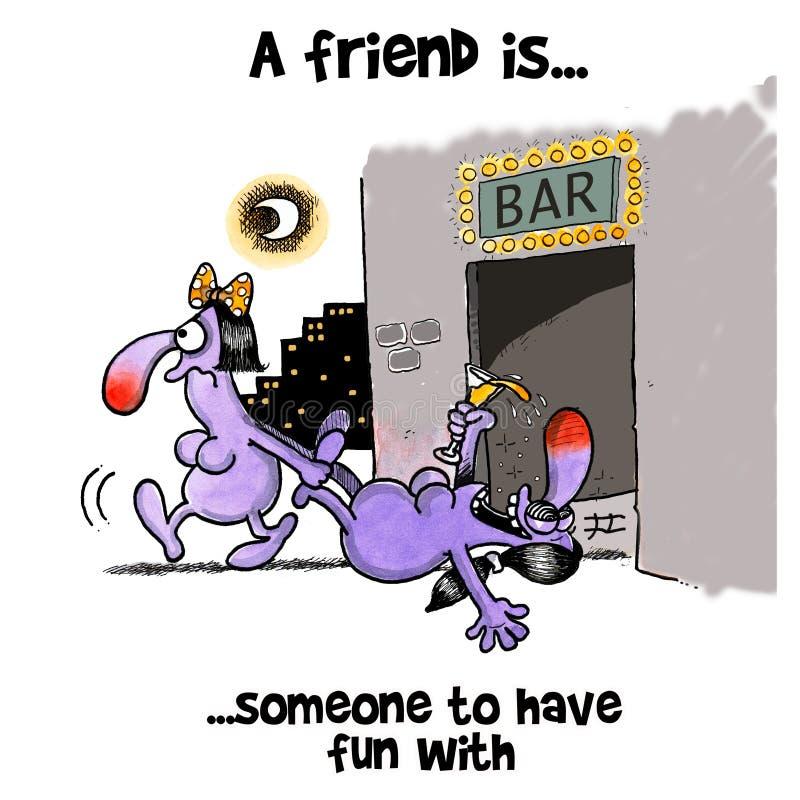 妇女扯拽她醉酒的女性朋友在酒吧外面 皇族释放例证