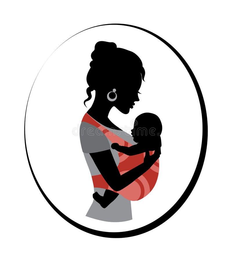 妇女抱着吊索的一个婴孩 皇族释放例证