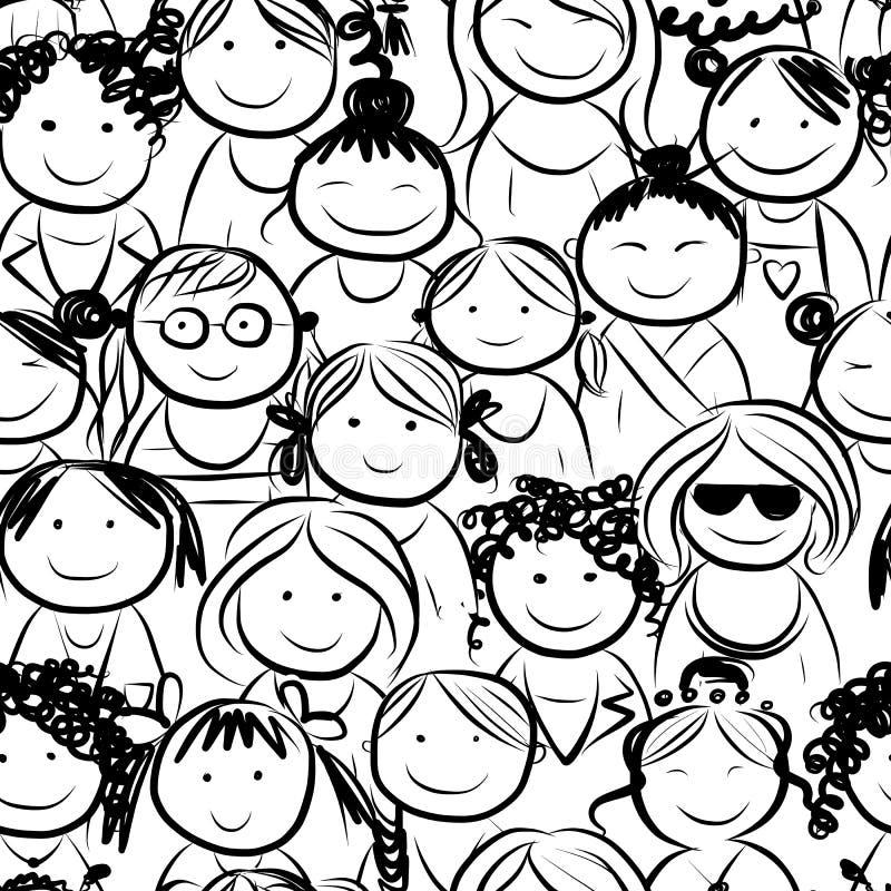 妇女拥挤,您的设计的无缝的样式 向量例证