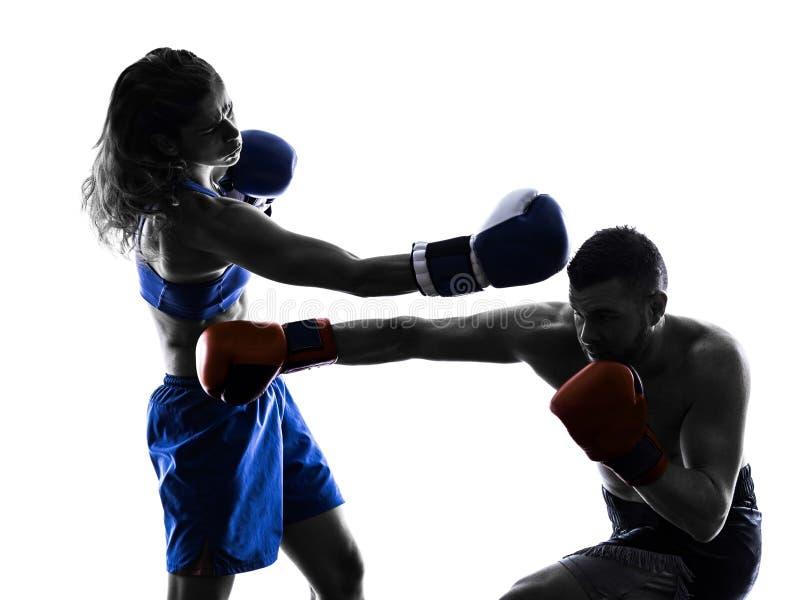 妇女拳击手拳击被隔绝的人kickboxing 库存图片