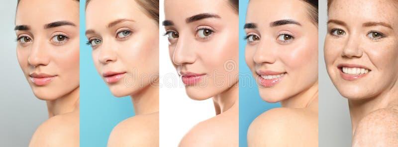 妇女拼贴画有脸蛋漂亮的 免版税库存照片